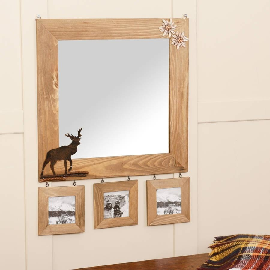 Wooden Wall Mirror With Deer Detail And Photo Framesdibor With Regard To Wooden Mirror (Image 20 of 20)