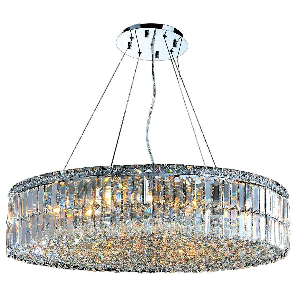 Worldwide Lighting Cascade Collection 18 Light Polished Chrome And For Chrome And Crystal Chandeliers (Image 24 of 25)