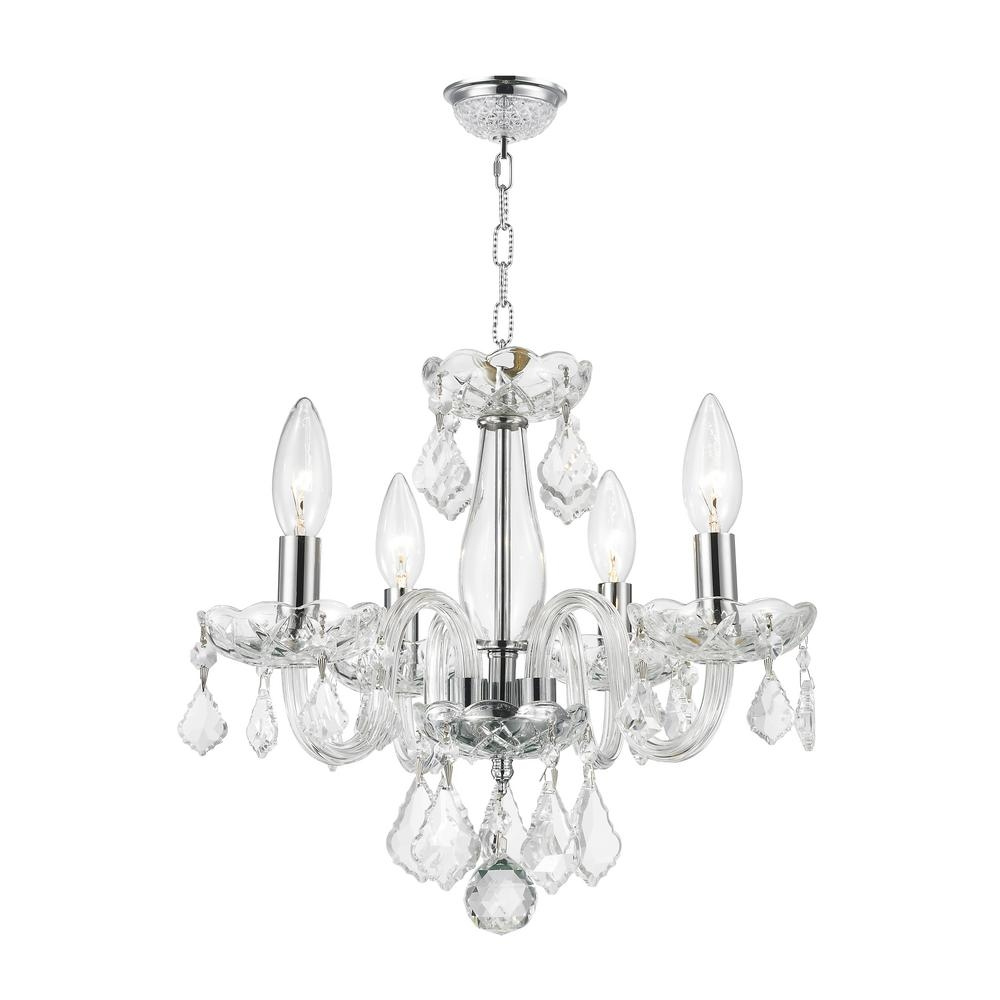 Worldwide Lighting Clarion Collection 4 Light Polished Chrome With Regard To 4 Light Chrome Crystal Chandeliers (View 5 of 25)