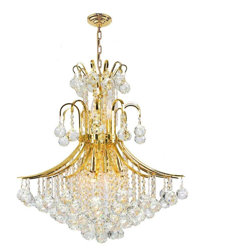 Worldwide Lighting Empire Collection 11 Light Polished Gold Pertaining To Crystal Gold Chandeliers (Image 24 of 25)