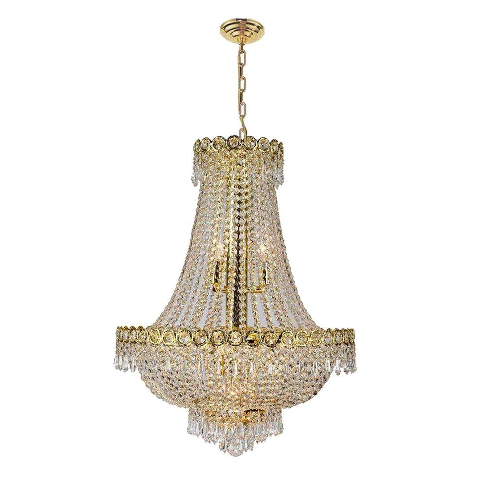 Worldwide Lighting Empire Collection 12 Light Polished Gold And Regarding Crystal Gold Chandeliers (Image 25 of 25)