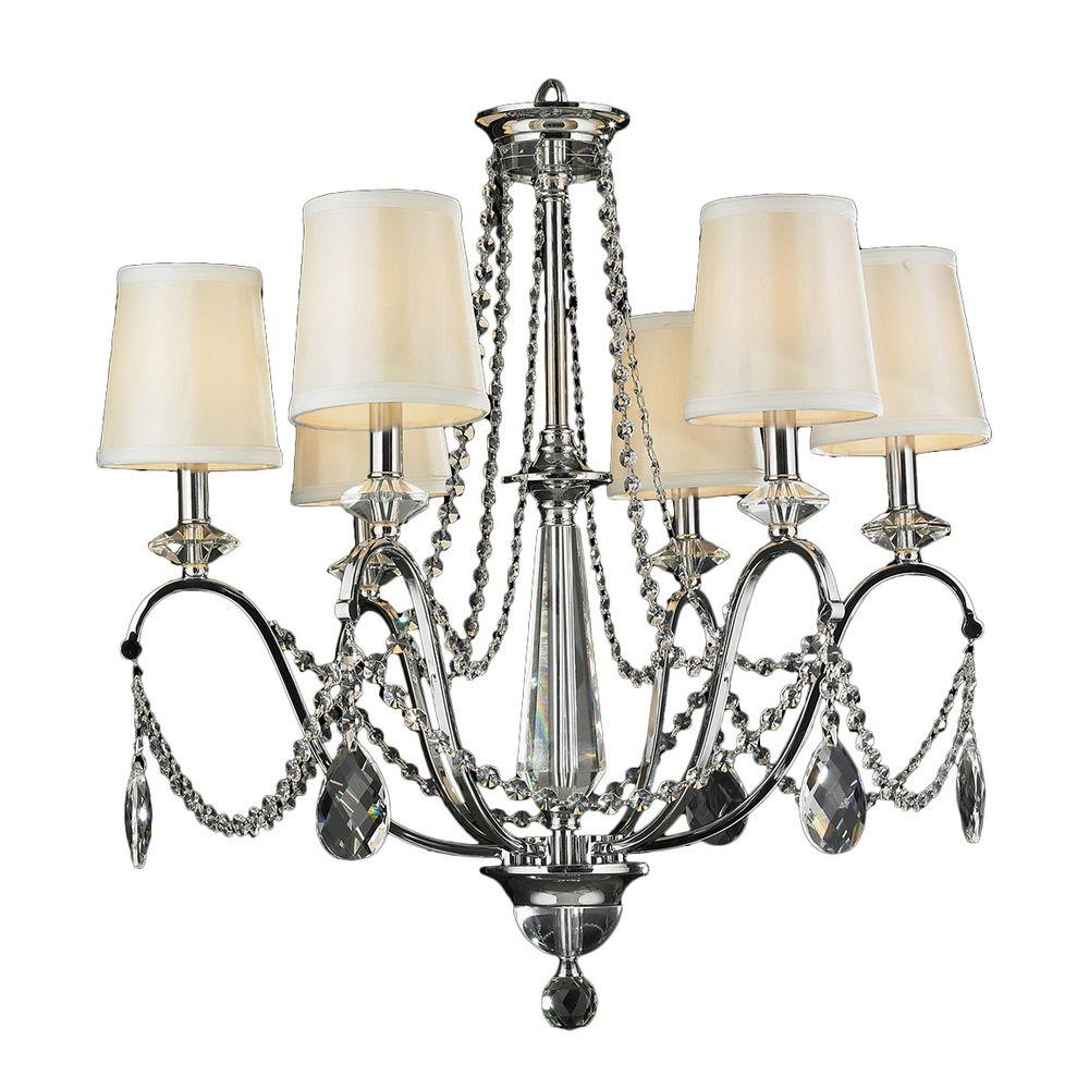 Worldwide Lighting Innsbruck 6 Light Chrome Crystal Chandelier For Chrome And Crystal Chandeliers (Image 25 of 25)