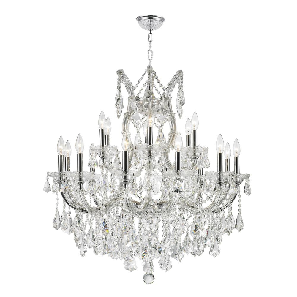 Worldwide Lighting Maria Theresa 19 Light Polished Chrome Throughout Crystal Chrome Chandeliers (Image 25 of 25)