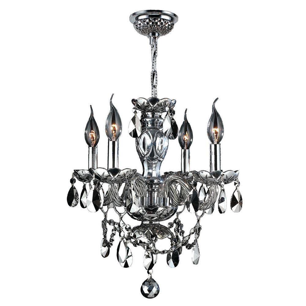 Worldwide Lighting Provence Collection 4 Light Chrome With Crystal Inside 4 Light Chrome Crystal Chandeliers (Image 25 of 25)