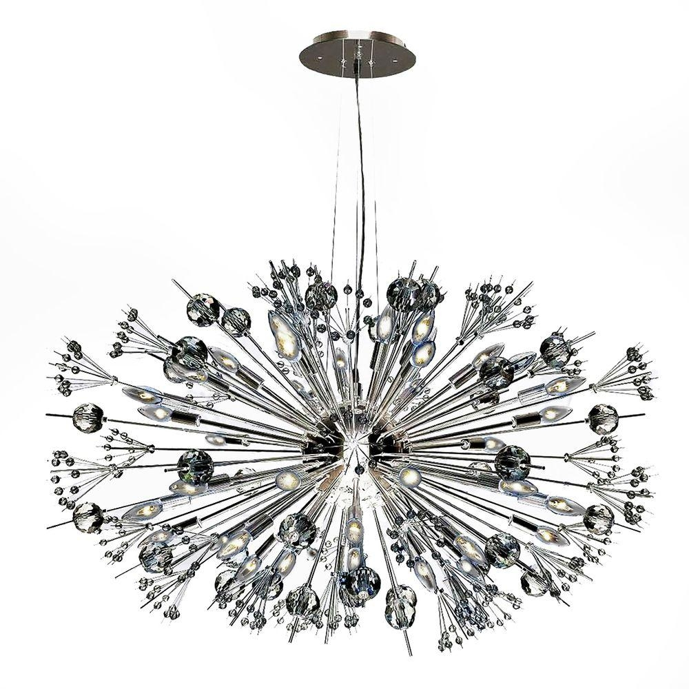 Worldwide Lighting Starburst 24 Light Polished Chrome Crystal With Chrome Sputnik Chandeliers (Image 25 of 25)