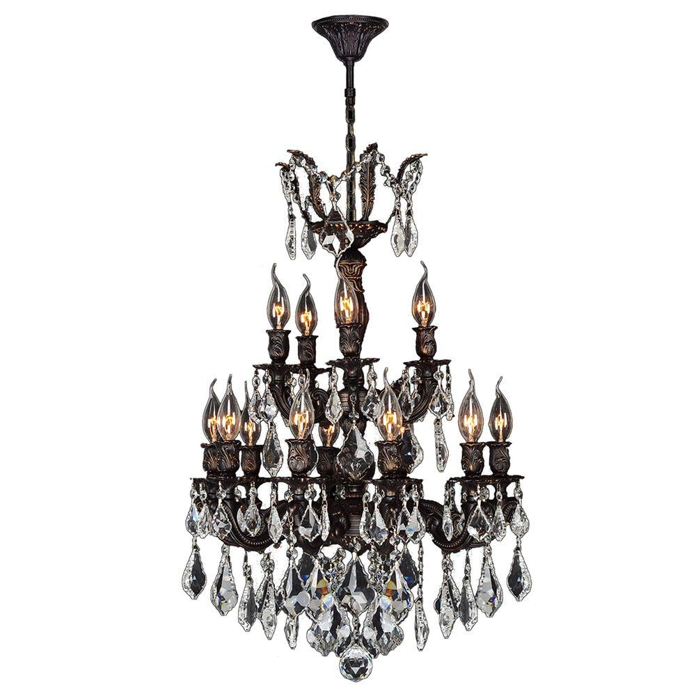 Worldwide Lighting Versailles 15 Light Flemish Brass Crystal With Regard To Flemish Brass Chandeliers (Image 18 of 25)