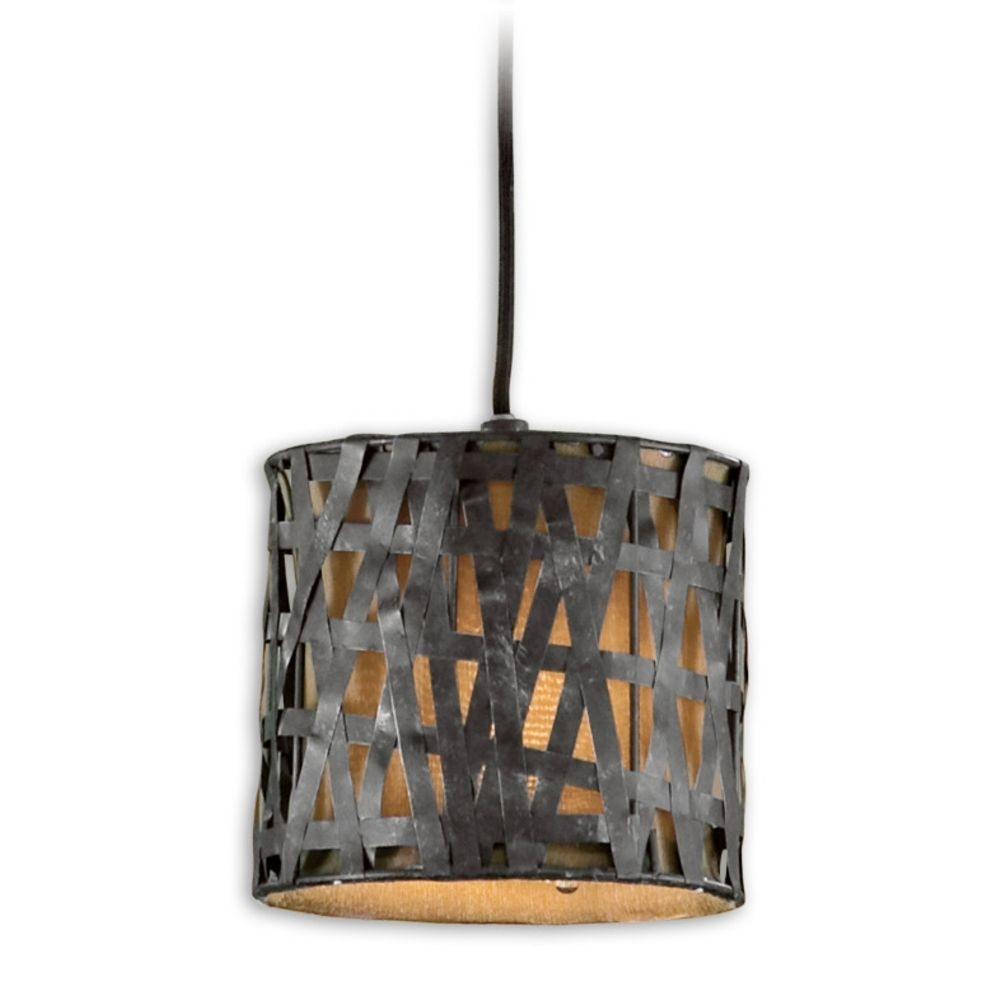 Woven Metal Drum Shade Mini Pendant Light 21835 Destination Throughout Metal Drum Chandeliers (Image 25 of 25)