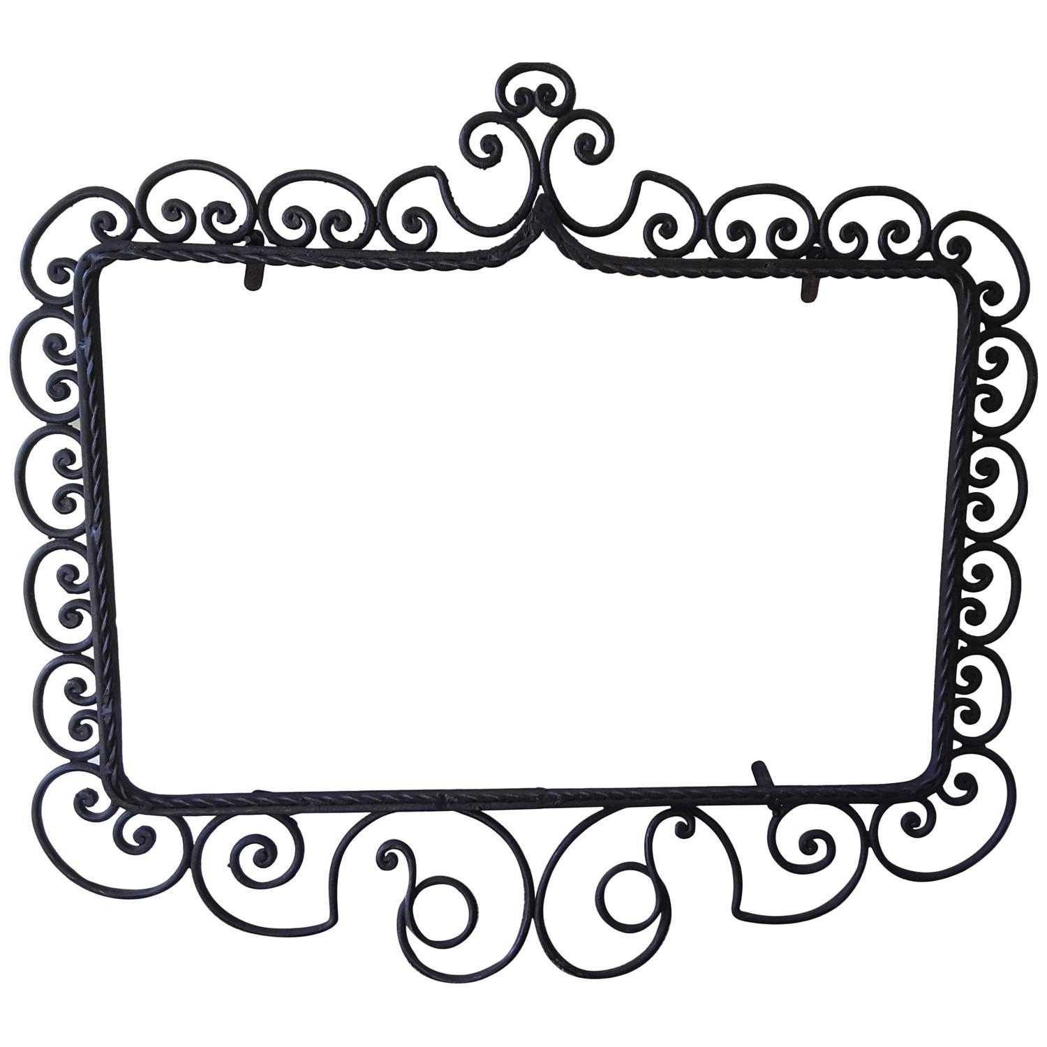 Wrought Iron Mirror/picture Frame, Hand Forged, Late Victorian Throughout Black Wrought Iron Mirrors (View 4 of 20)