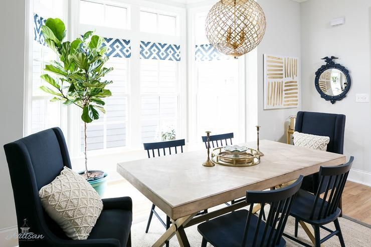 X Based Dining Table With Navy Blue Dining Chairs – Transitional For Blue Dining Tables (Image 20 of 20)