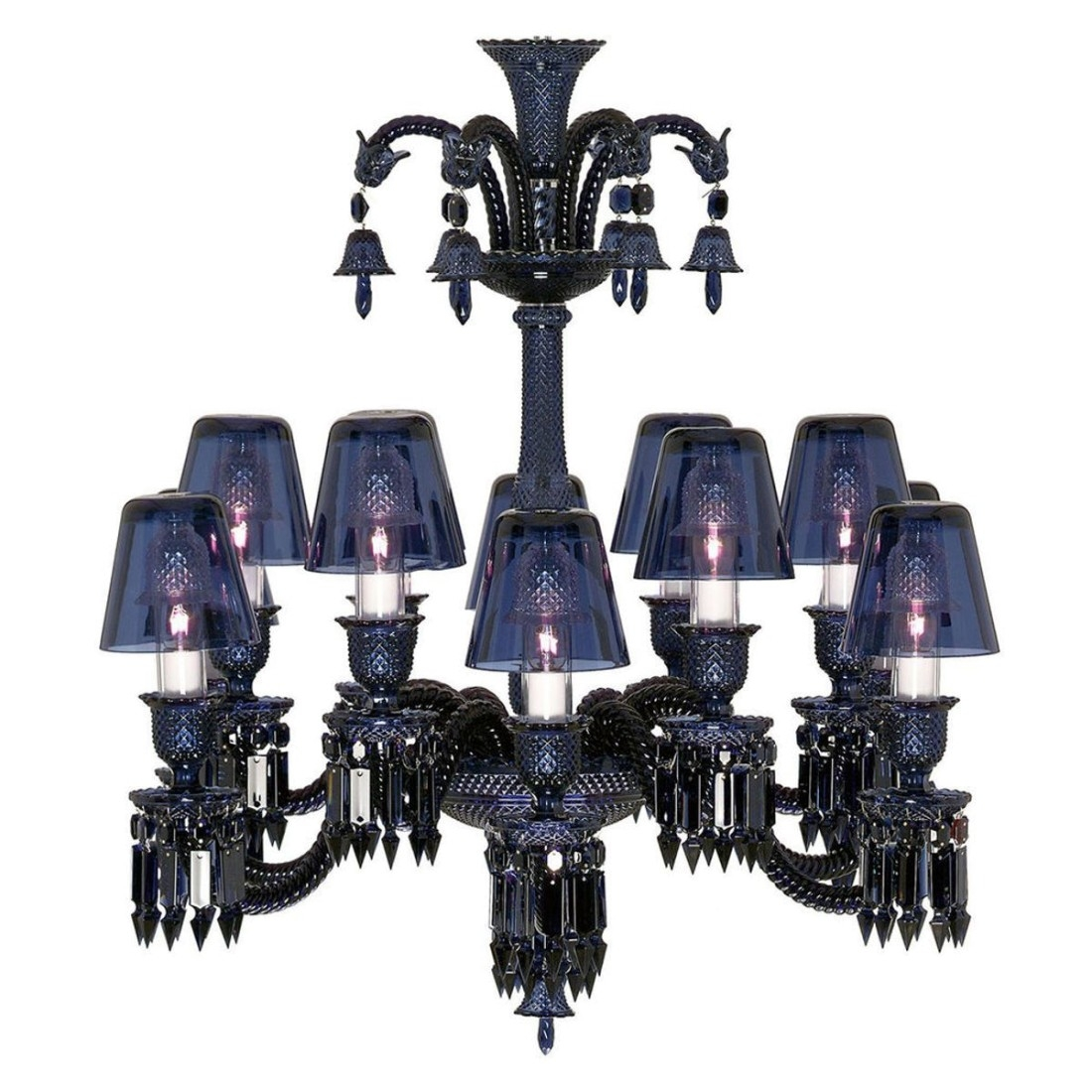 Zenith Midnight Chandeliers With Crystal Shades Baccarat Intended For Short Chandeliers (Image 24 of 25)