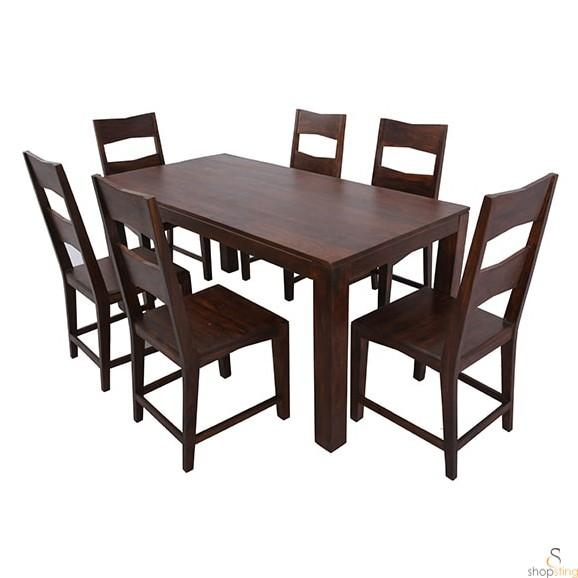 Zora Solid Wood 6 Seater Dining Table Set – 6 Seater Dining Table With 6 Seat Dining Tables And Chairs (Image 20 of 20)