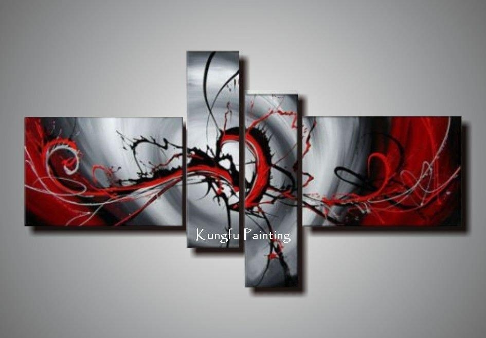 100% Hand Painted Black White Red Canvas Art Group Oil Painting For Black White And Red Wall Art (View 9 of 20)