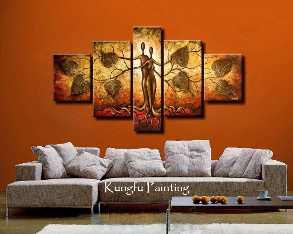100% Hand Painted Discount Abstract 5 Panel Canvas Art Living Room Within Wall Art Sets For Living Room (View 19 of 20)