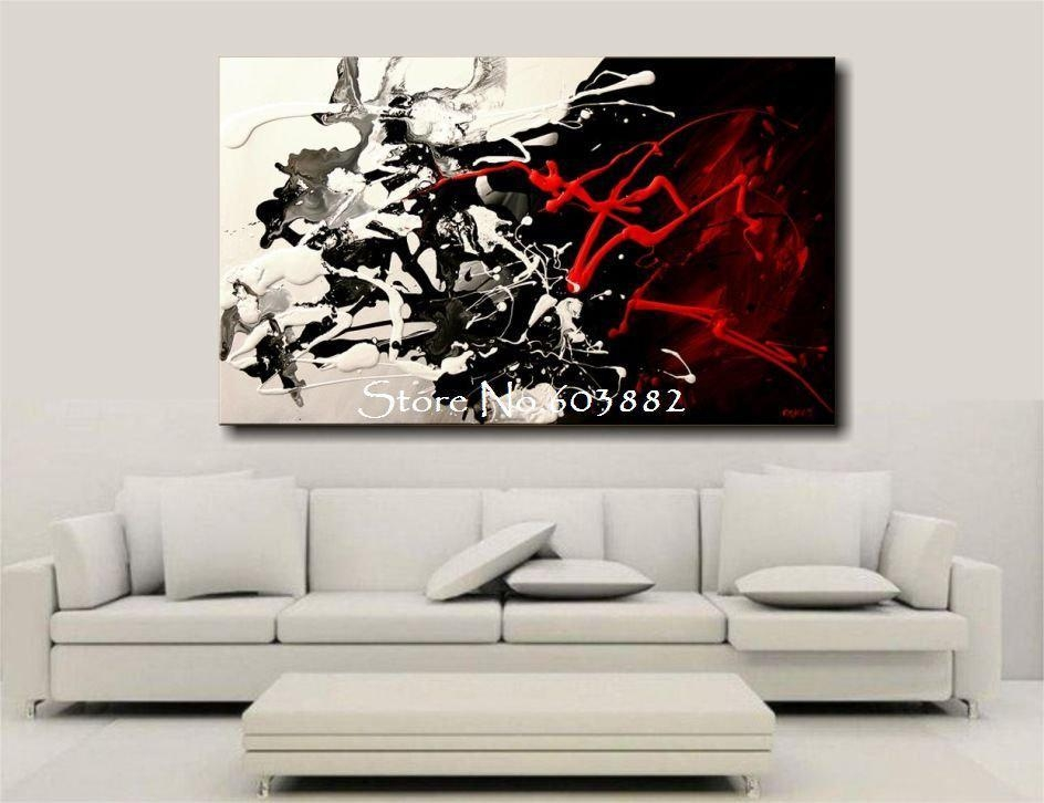 100% Hand Painted Discount Large Black White And Red Abstract Art Regarding Large Black And White Wall Art (View 2 of 20)