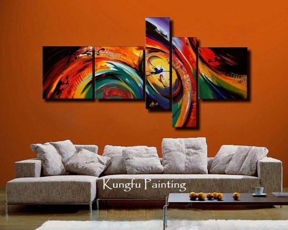 100% Hand Painted Unframed Abstract 5 Panel Canvas Art Living Room With 4 Piece Wall Art (Image 1 of 20)
