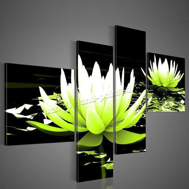 100% Hand Painted Wall Art Lavender Beautiful Flowers Modern Home For Lime Green Wall Art (Image 1 of 20)