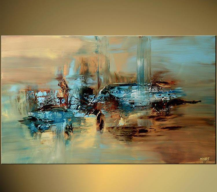 100% Handmade Abstract Oil Painting Large Wall Art On Canvas High For Huge Wall Art (Image 1 of 20)