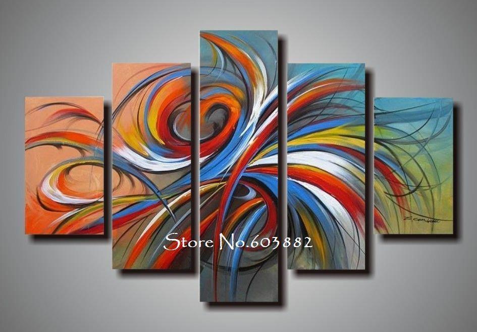 100% Handmade Discount Canvas Art Wall Art Canvas Modern Abstract For Cheap Wall Art Canvas Sets (Image 1 of 20)