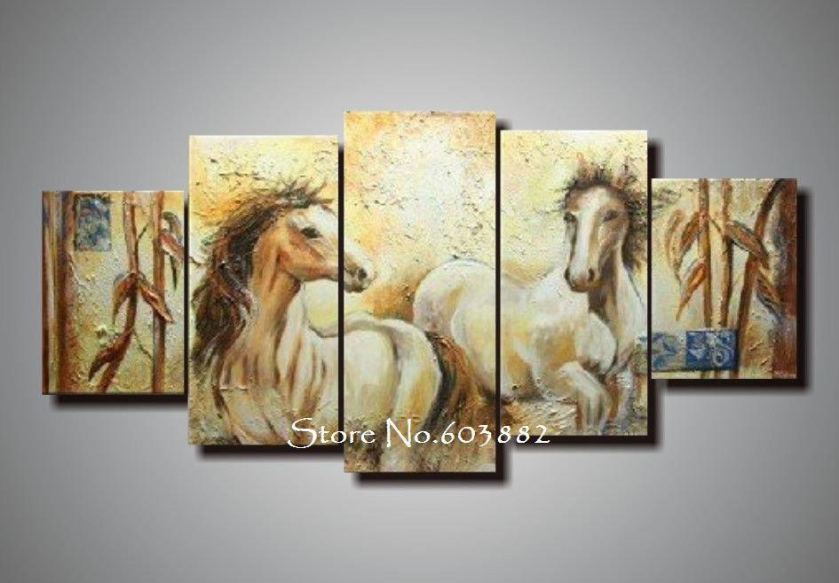 100% Handmade Unframed Abstract Horse Canvas Painting Canvas Art For Cheap Abstract Wall Art (View 12 of 20)