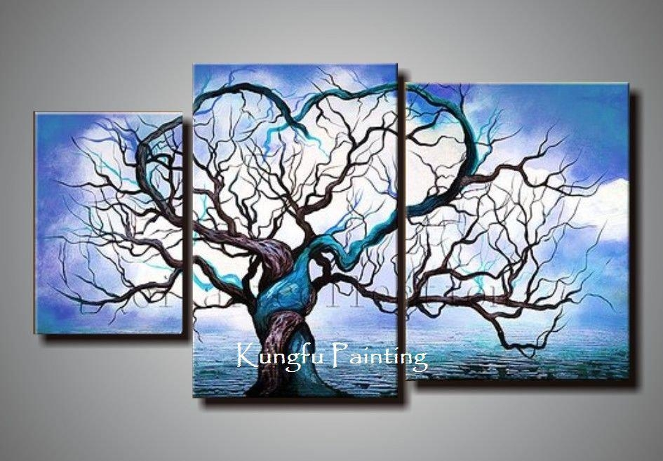 100% Handmade Wall Art Canvas Origin Of Life In Blue Oil Painting With Blue And White Wall Art (Image 1 of 20)