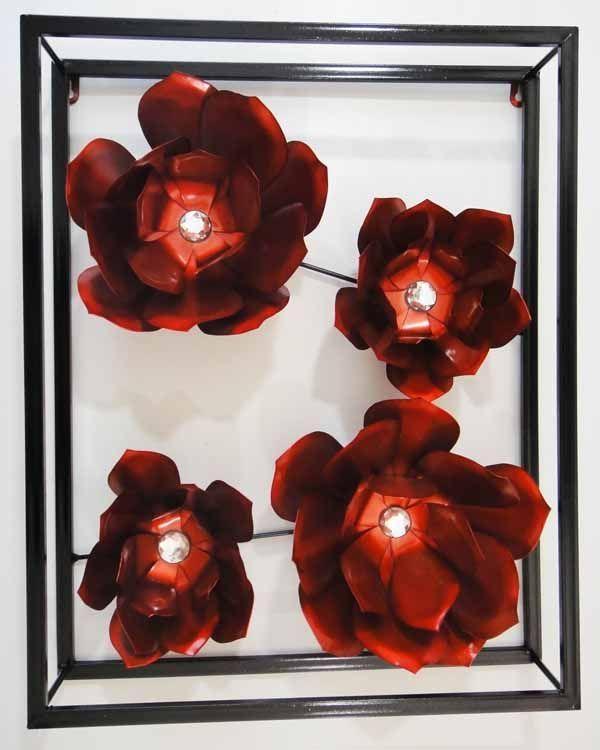106 Best Decor Images On Pinterest | Metal Wall Art, Metal Walls For Red Flower Metal Wall Art (Image 1 of 20)