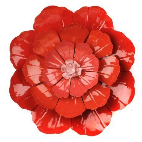 20 Best Red Flower Metal Wall Art | Wall Art Ideas