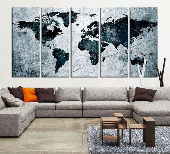 119 Best Watercolor Wall Art World Map Images On Pinterest | Large Inside Extra Large Wall Art Prints (View 7 of 20)