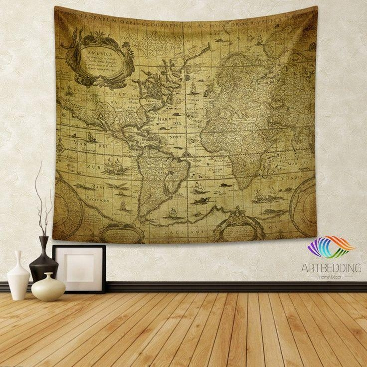 136 Best Vintage Antique World Map Decor, Wall Art Prints And Pertaining To Antique Map Wall Art (Image 2 of 20)