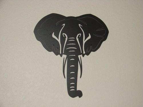 14 Inch Steel Black Matte African Elephant Art Deco Metal Wall Art For African Metal Wall Art (Image 2 of 20)