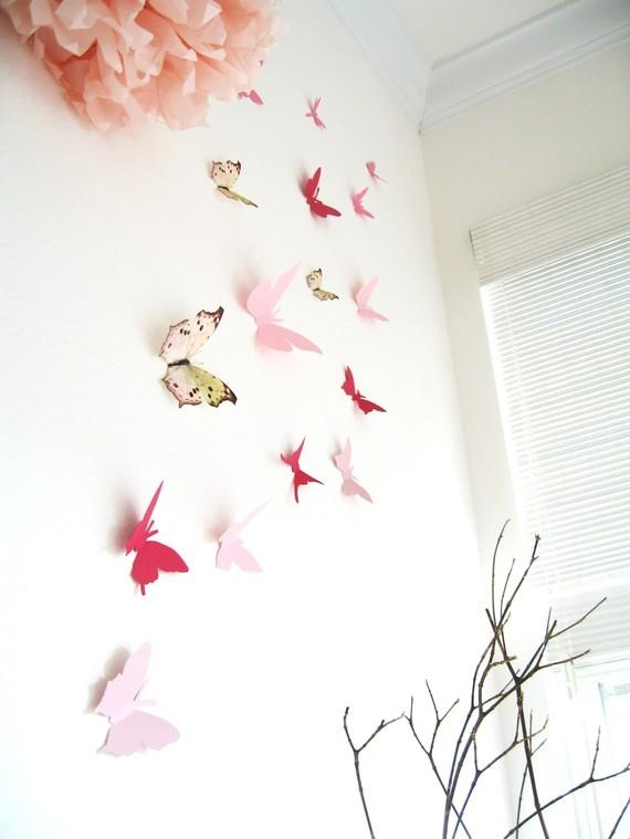15 3D Butterfly Wall Art Assorted Multi Color Butterflies In Pink Butterfly Wall Art (Image 1 of 20)