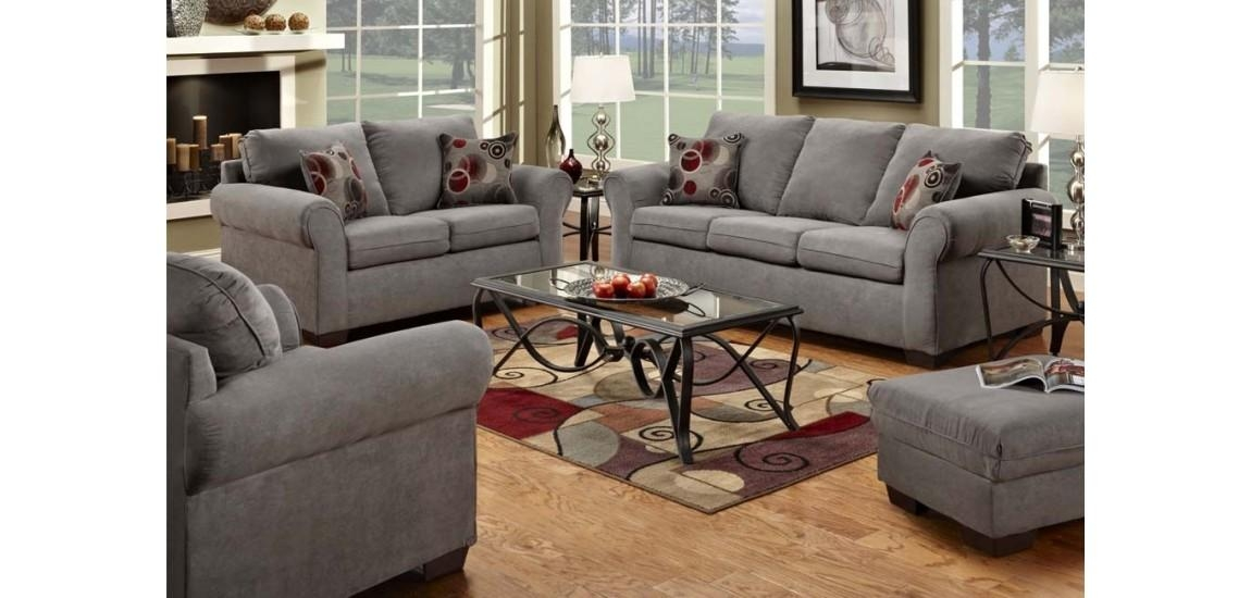 1640G Simmons Graphite Microfiber Sofas Set For Simmons Sofas (Image 1 of 20)