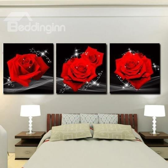 16×16In×3 Panels Red Roses Hanging Canvas Waterproof And Eco Within Red Rose Wall Art (Image 2 of 20)