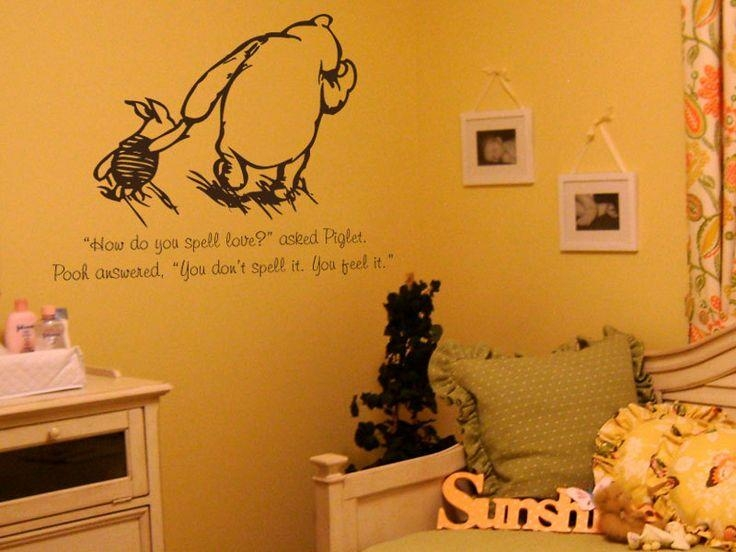 18 Best Nursery Images On Pinterest | Nursery Ideas, Babies Throughout Winnie The Pooh Nursery Quotes Wall Art (Image 2 of 20)