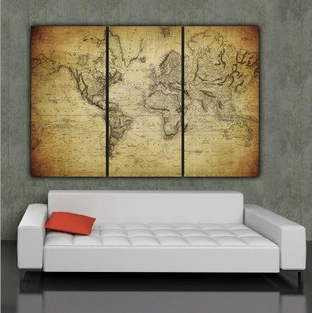 1850 Vintage World Map Art On Canvas Vintage Map Set For Regarding Large Vintage Wall Art (Image 2 of 20)