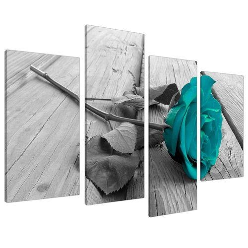 Featured Image of Teal Flower Canvas Wall Art