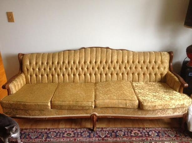 1960's Gold Brocade French Proverbial Style Sofa Couch With Regard To Brocade Sofas (Image 2 of 20)
