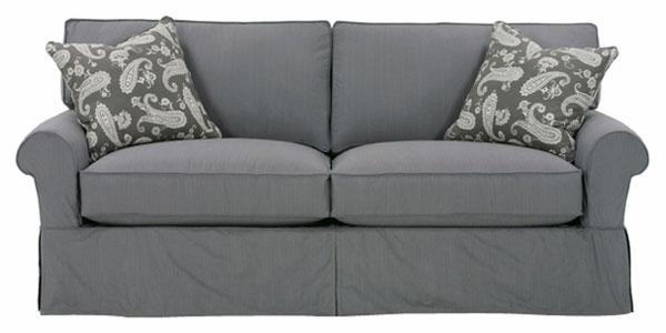 2 Cushion Skirt Slipcovered Queen Sleeper Sofa W/ Rolled Arms For Queen Convertible Sofas (Image 1 of 20)