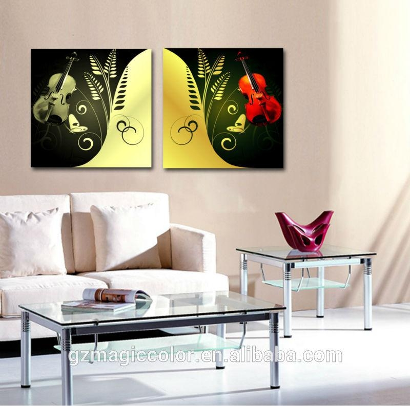 2 Panel Canvas Wall Art Musical Instrument Design Oil Painting Throughout Musical Instrument Wall Art (View 11 of 20)