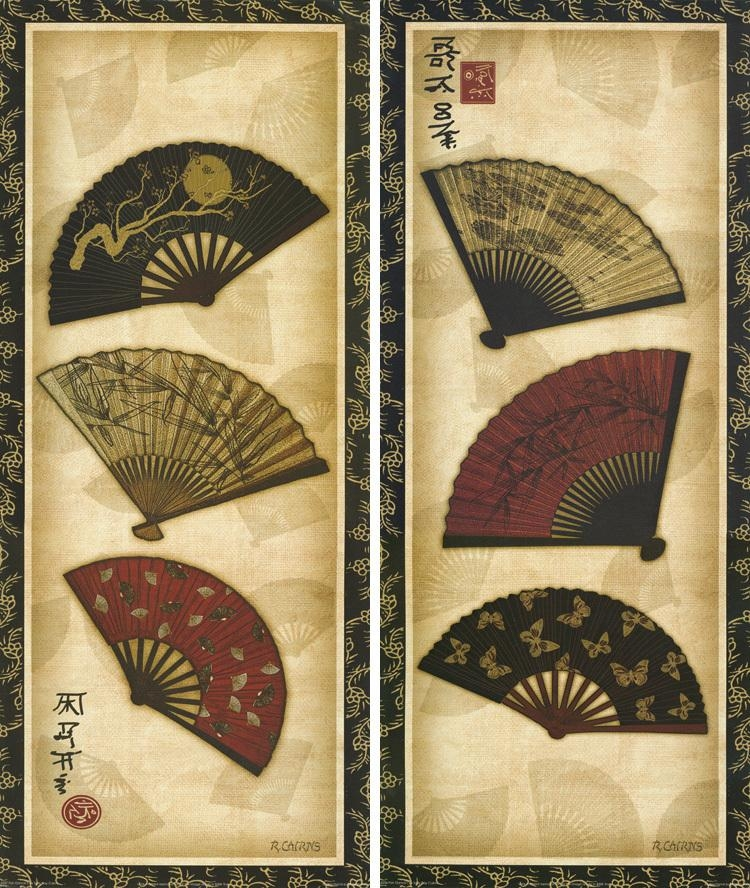 2 Panels Japanese Traditional Flower Fans Wall Hanging Frameless Pertaining To Japanese Wall Art Panels (Image 2 of 20)