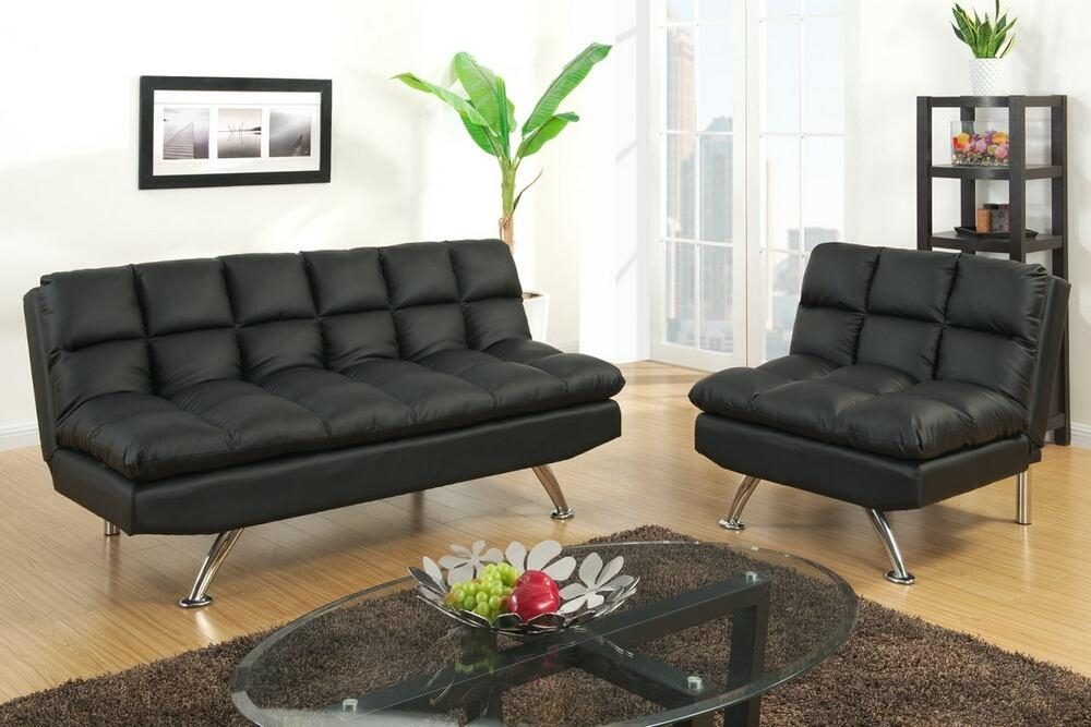 2 Pc Black Faux Leather With Faux Leather Futon Sofas (Image 2 of 20)