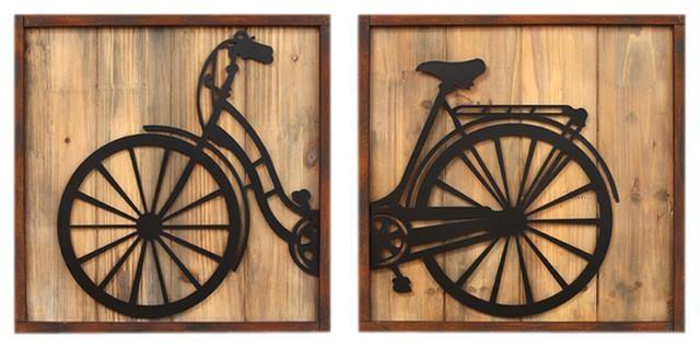 2 Piece Bicycle Panels Wall Art Set – Modern – Metal Wall Art – Within Bicycle Metal Wall Art (Image 1 of 20)