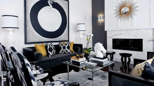 20 Attractive Black Sofa Living Room | Home Design Lover Pertaining To Sofas Black And White Colors (Image 1 of 20)
