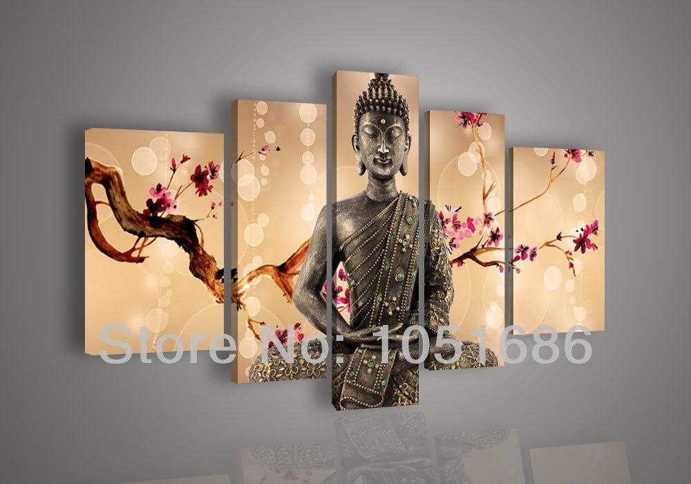 2016 Hand Painted Religion Zen Buddha Oil Painting On Canvas Wall In 4 Piece Canvas Art Sets (Image 2 of 20)