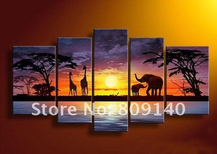2016 Yellow Orange Black Wall Art Landscape Oil Painting Canvas Regarding Canvas Landscape Wall Art (View 4 of 20)