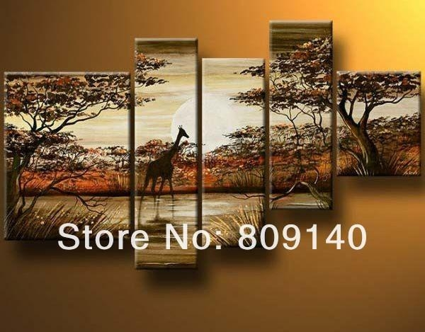 2016 Yellow Orange Black Wall Art Landscape Oil Painting Canvas With Regard To Animal Canvas Wall Art (View 7 of 20)