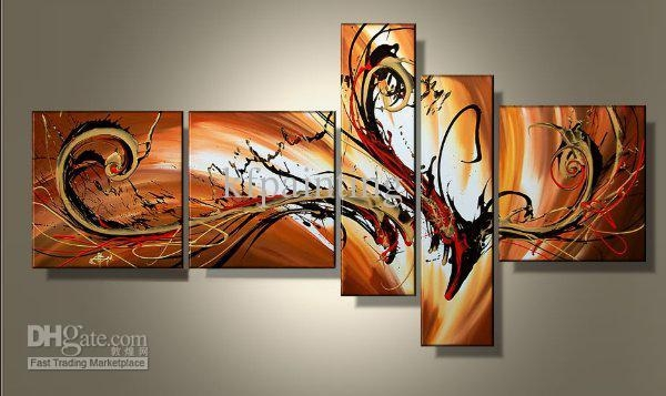 2017 100% Hand Painted Unframed Abstract Painting Wall Art Canvas With 3 Piece Abstract Wall Art (View 6 of 20)