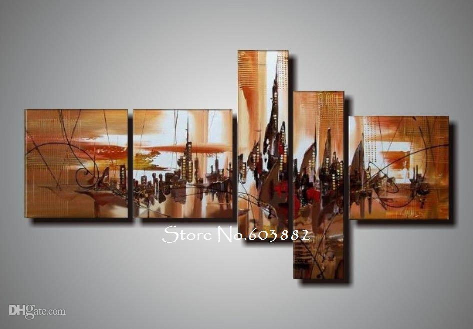 2017 100% Handmade Unframed Canvas Art Painting Acrylic On Canvas With Multi Panel Canvas Wall Art (View 8 of 10)
