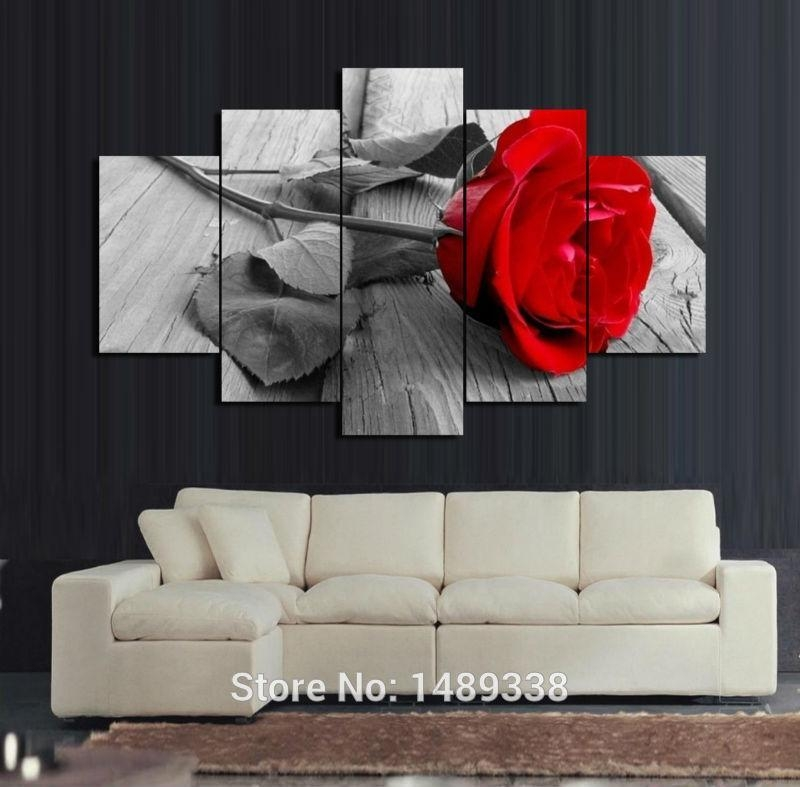 2017 5 Panel Red Rose Canvas Oil Painting Home Decoration Wall Art Regarding Red Rose Wall Art (Image 3 of 20)
