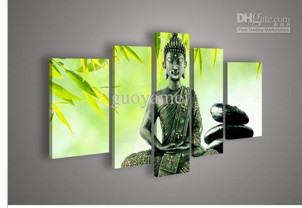 2017 5 Panel Wall Art Religion Buddha Green Oil Painting On Canvas Within Green Canvas Wall Art (Image 1 of 20)