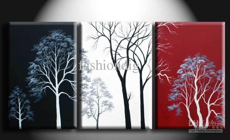 2017 Abstract Wall Tree Black White Red Oil Painting Canvas Intended For Black White And Red Wall Art (View 13 of 20)